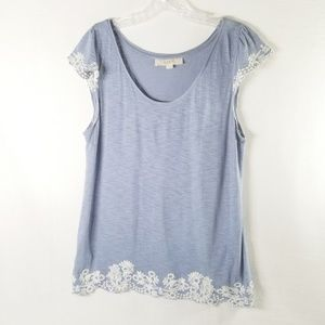 LOFT SM Cap Sleeve Embroidered T-Shirt Top 3513